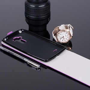 SLIM FLIP FLEX CASE COVER RUBBER magnet LG G4 STYLUS PURPLE color