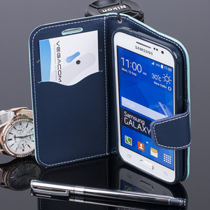 WALLET CASE COVER SAMSUNG GALAXY CORE PRIME G360 pocketbook mint-navy