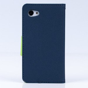 WALLET FLIP CASE COVER RUBBER magnet SONY XPERIA Z5 COMPACT DARKBLUE