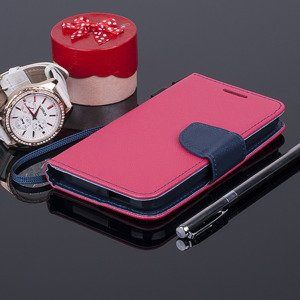 WALLET FLIP CASE COVER magnet HTC DESIRE 320 pocketbook pink-navy