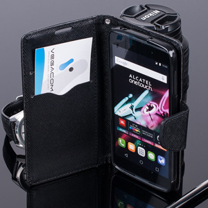 WALLET FLIP CASE COVER pocketbook ALCATEL ONE TOUCH IDOL 3 4.7 BLACK