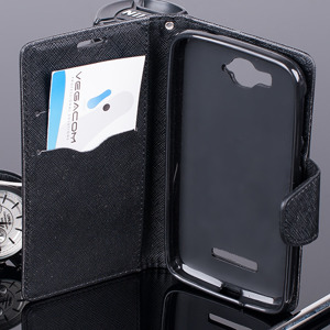 WALLET FLIP CASE COVER pocketbook ALCATEL ONE TOUCH POP C7 7040 BLACK