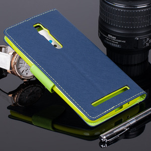WALLET FLIP CASE COVER pocketbook ASUS ZENFONE 2 5.5 Navy and lime