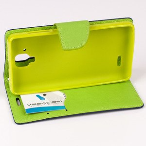 WALLET FLIP CASE COVER pocketbook RUBBER magnet LENOVO A536 navy lime