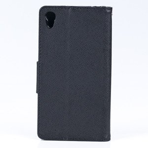 WALLET FLIP CASE COVER pocketbook RUBBER magnet SONY XPERIA Z5 BLACK