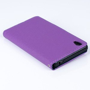 WALLET FLIP CASE COVER pocketbook RUBBER magnet SONY XPERIA Z5 PURPLE