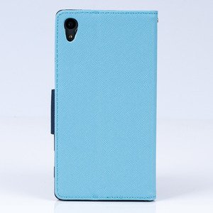 WALLET FLIP CASE COVER pocketbook RUBBER magnet SONY XPERIA Z5 Sky blue