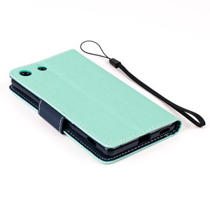 WALLET FLIP CASE COVER pocketbook magnet SONY XPERIA M5 Mint-Navy