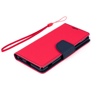 WALLET FLIP CASE COVER pocketbook magnet SONY XPERIA M5 red-navy