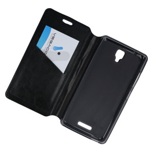 WALLET SLIM FLIP CASE COVER MYPHONE Q-SMART pocketbook 2in1 BLACK