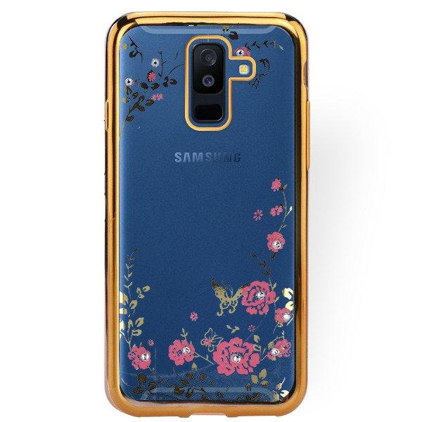 Fall Decken Case Diamente Tasche Sam Galaxy A6 Plus 2018 Gold Glas