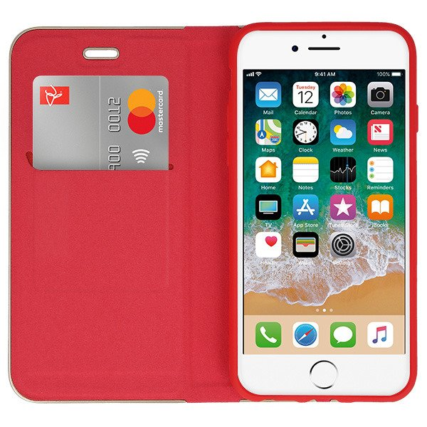 Fall decken TASCHE Magnetic POSH XIAOMI REDMI NOTE 4X ROT + GLAS