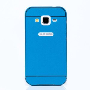 ALU BUMPER FALL CASE COVER TASCHE GALAXY CORE PRIME G360 BLAU + Glas