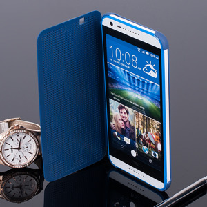 DOT VIEW FLIP Holster Fall decken CASE TASCHE HTC DESIRE 620 BLAU
