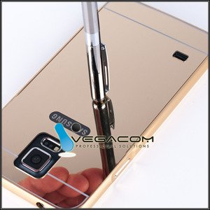 Rahmen FALL CASE BUMPER MIRROR COVER TASCHE SAM GALAXY S5 SM-G900 GOLD