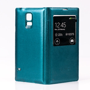 case Fall decken Holster TASCHE VIEW Fenster SAMSUNG GALAXY S5 BLAU