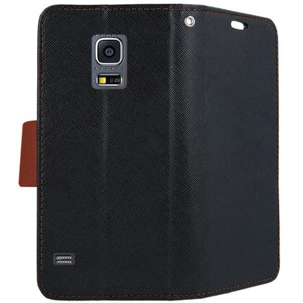 Pokrowiec z zapięciem na magnes portfel etui czarno brązowe ze szkłem hartowanym do SAMSUNG GALAXY S5 SM G900